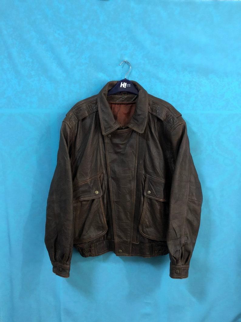 VTG A2 handcraft handmade cowhide real double collar biker brown nam war world war zipper large #671
