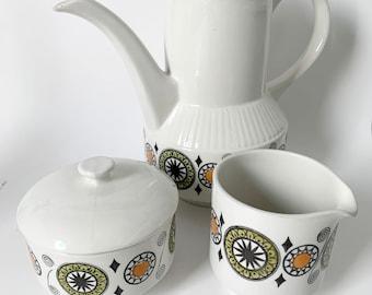 Vintage Broadhurst Kathie winkle renaissance coffee pot set - iron stone, Coffee pot, creamer, sugar bowl, lidded sugar bowl, ceramic, 60s
