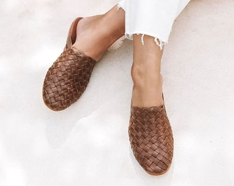 4739bfcd9 TULLUM Womens Mules, Hand Woven Leather Mules, Mules Sandals, Summer Shoes, Brown  Mules, Flat Mules, Beach Shoes, Brown Leather