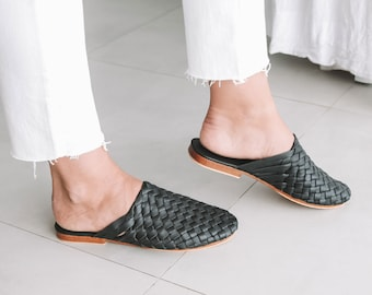 3f73e5b2b5175 TULLUM Womens Mules, Hand Woven Leather Mules, Mules Shoes, Summer Shoes, Mule  Sandals, Black Mules, Flat Mules, Beach Shoes, Pointed Slides