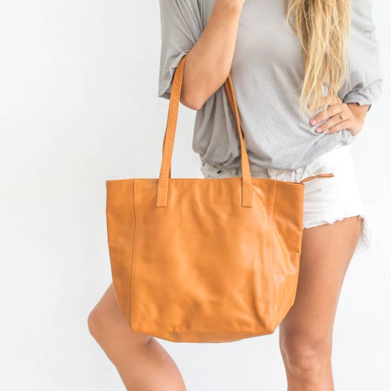 94dc2df4f Tan Leather Tote Tan Shoulder Bag Womens Leather Tote Bag | Etsy
