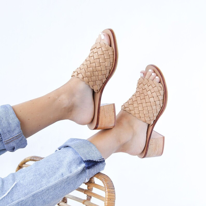 30ebbfd67c1 SANTORINI Heeled Mules Womens Mules Woven Mules Leather