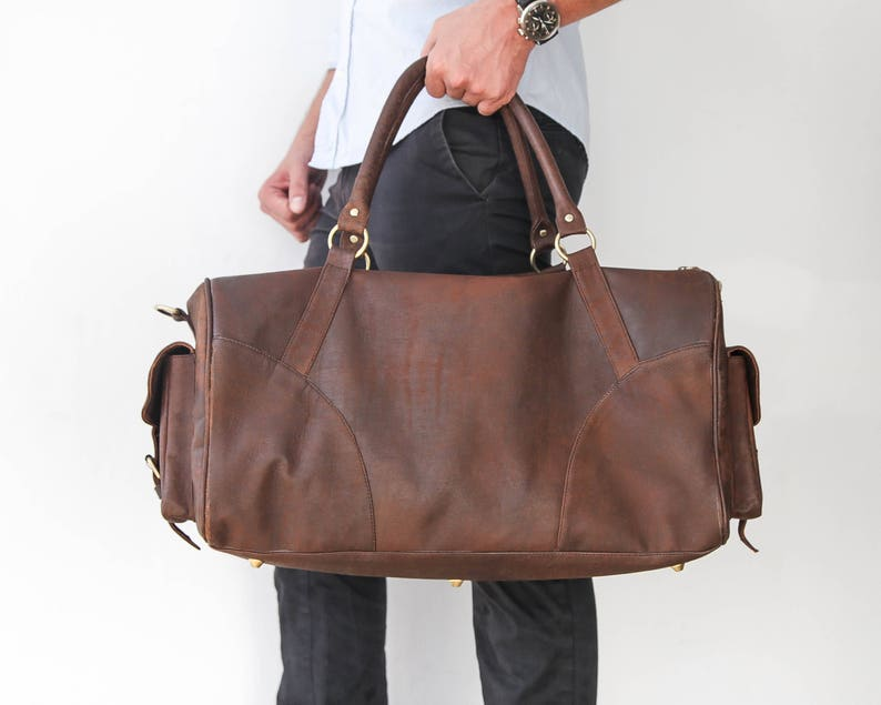 d39711c8ef2e Brown Leather Travel Bag Mens Leather Duffle Bag Overnight