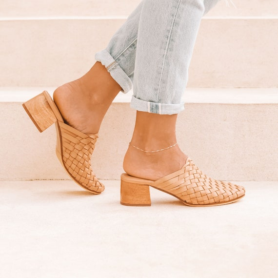 2b3e8ad2936 BONDI Heeled Mules, Womens Mules, Leather Mules, Mules Shoes, Summer Shoes,  Beige Mules, Heeled Sandals, High Heel Sandals, Woven Mules