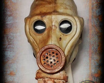 Gas mask post Apocalyptic style-wasteland survivor-corset closure-Expain Gas Mask