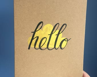 """5 """"Hello"""" cards- hand painted"""