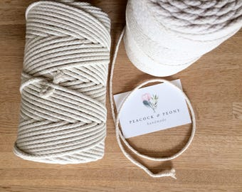 Cotton macrame rope - 3 mm, braided