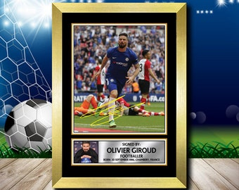 27c99cdd0 Limited Edition Signed Print of OLIVIER GIROUD 2 FOOTBALL Poster - Framing  Options - Wall Art Print Autographed Signed Fan Gift Present