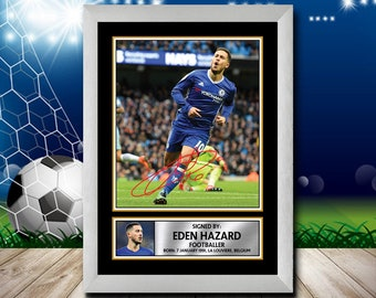 f78dd6eca96 Limited Edition Signed Print of EDEN HAZARD 2 FOOTBALL Poster - Framing  Options - Wall Art Print Autographed Signed Fan Gift Present