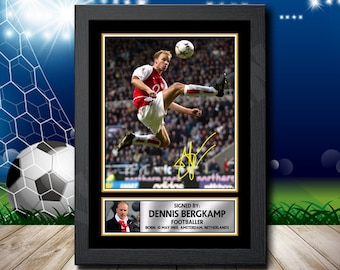 085279318f0 Limited Edition Signed Print of DENNIS BERGKAMP 2 FOOTBALL Poster - Framing  Options - Wall Art Print Autographed Signed Fan Gift Present