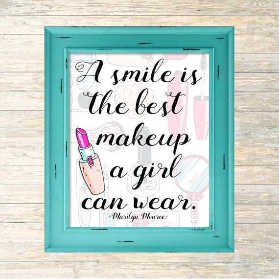 Marilyn Monroe Quote A Smile Is The Best Makeup A Girl Etsy