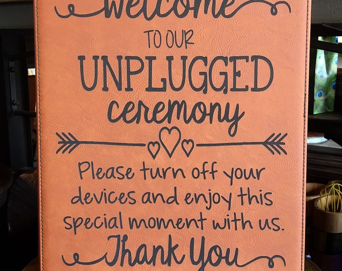 """Engraved 10 1/2"""" x 13"""" Rawhide Leatherette Plaque - UNPLUGGED"""