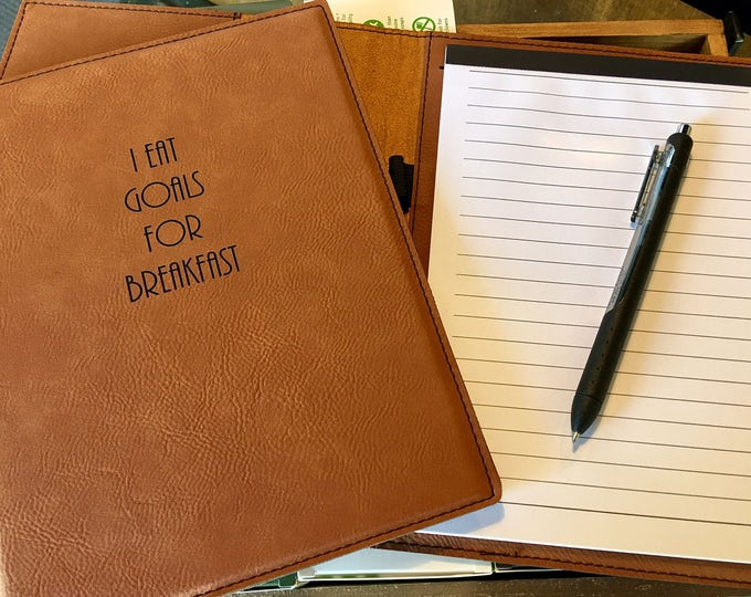 """Engraved 7"""" x 9"""" Rawhide Leatherette Mini Portfolio with Notepad - GOALS FOR BREAKFAST"""