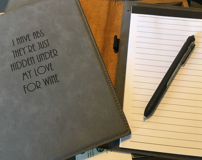 """Engraved 7"""" x 9"""" Gray Leatherette Mini Portfolio with Notepad - LOVE FOR WINE"""