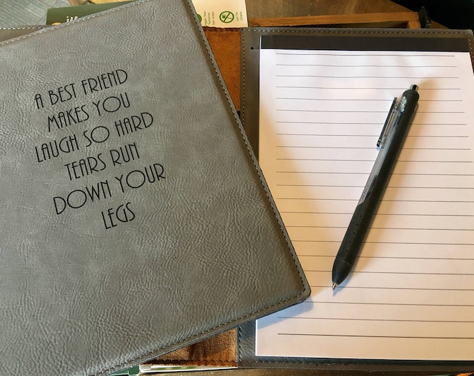 """Engraved 7"""" x 9"""" Gray Leatherette Mini Portfolio with Notepad - BEST FRIEND"""