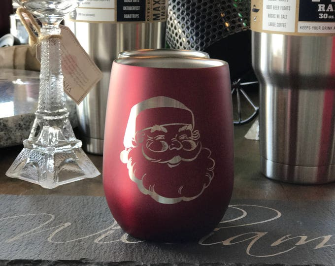 Engraved Red Stemless Stainless Steel Wine Glass - Insulated - Laser Engraved 'SANTA'