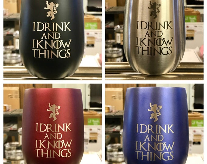 Engraved Stemless Stainless Steel Wine Glass - Insulated - Laser Engraved DRINK & KNOW