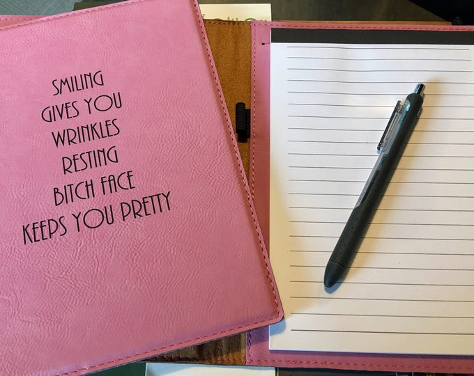 """Engraved 7"""" x 9"""" Pink Leatherette Mini Portfolio with Notepad - RESTING BITCH FACE"""