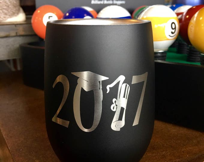 """Engraved Black Stemless Stainless Steel Wine Glass - Insulated - Laser Engraved """"2017"""""""