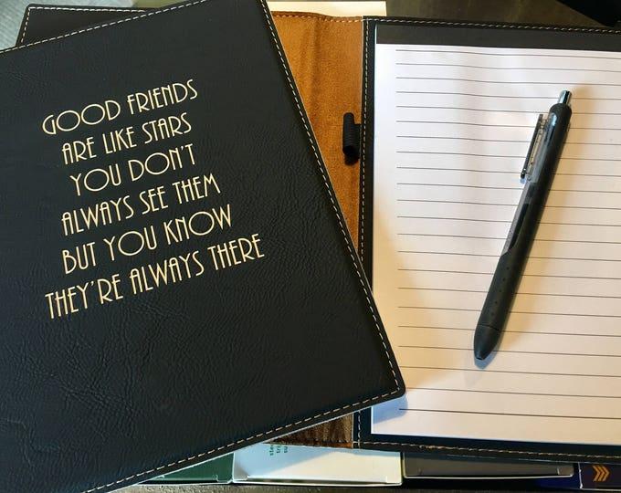 "Engraved 7"" x 9"" Black Leatherette Mini Portfolio with Notepad - GOOD FRIENDS"