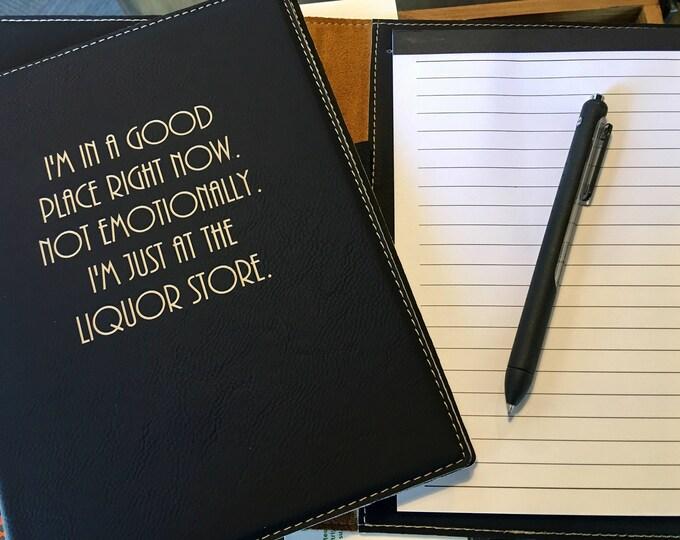 "Engraved 7"" x 9"" Black Leatherette Mini Portfolio with Notepad - LIQUOR STORE"