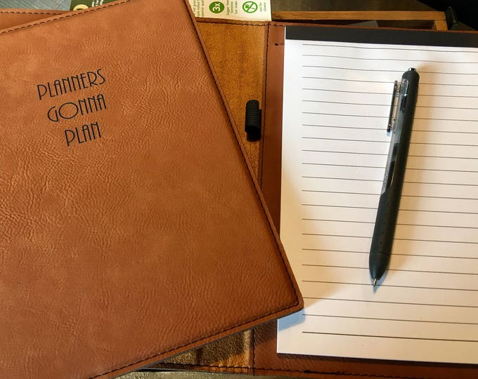 """Engraved 7"""" x 9"""" Rawhide Leatherette Mini Portfolio with Notepad - PLANNERS GONNA PLAN"""