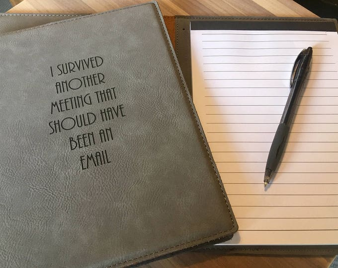 """Engraved 7""""x9"""" Gray Leatherette Mini Portfolio with Notepad - I SURVIVED"""