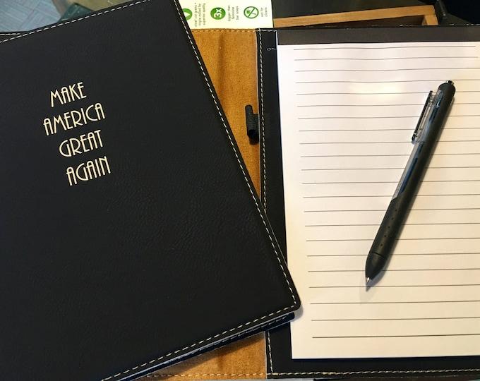 "Engraved 7"" x 9"" Black Leatherette Mini Portfolio with Notepad - MAKE AMERICA GREAT"