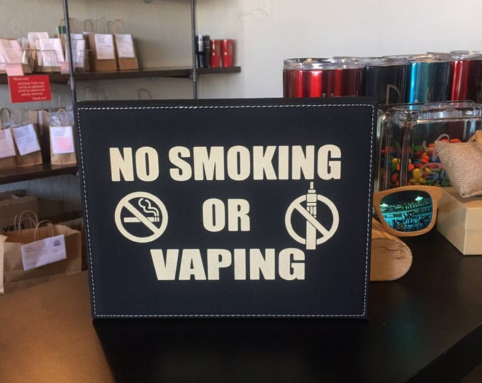 """Engraved 7"""" x 9"""" Black Leatherette Office Plaque - NO SMOKING or VAPING"""