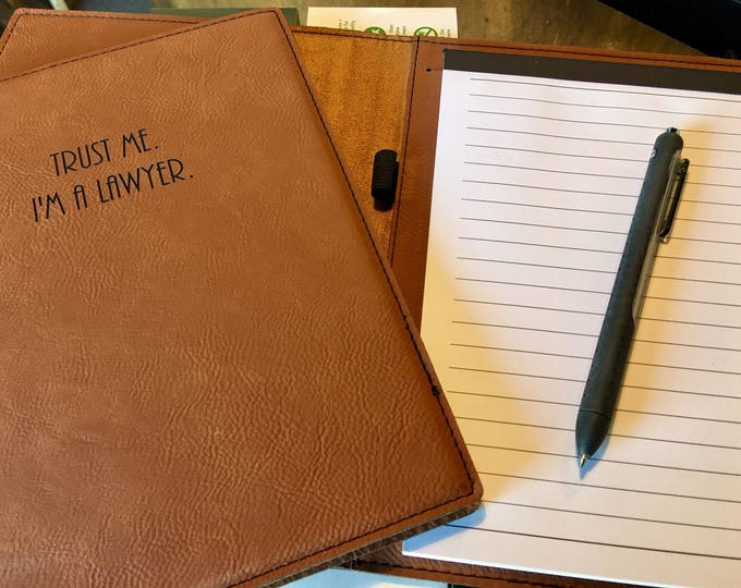 """Engraved 7"""" x 9"""" Rawhide Leatherette Mini Portfolio with Notepad - TRUST ME"""