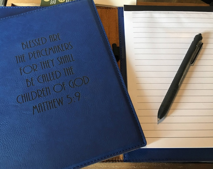 """Engraved 7"""" x 9"""" Blue Leatherette Mini Portfolio with Notepad - PEACEMAKERS MATTHEW 5:9"""