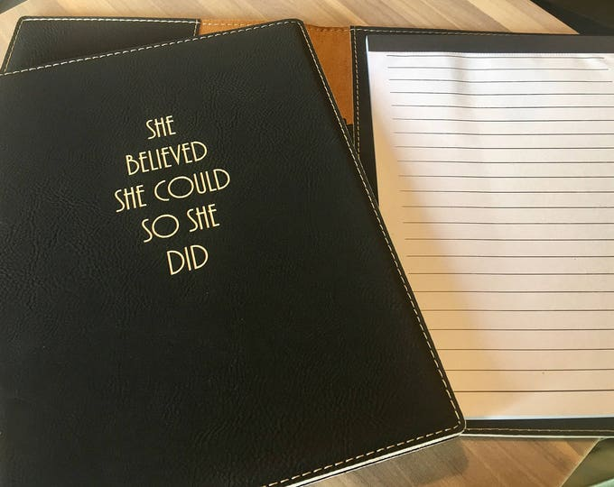 "Engraved 7""x9"" Black Leatherette Mini Portfolio with Notepad"