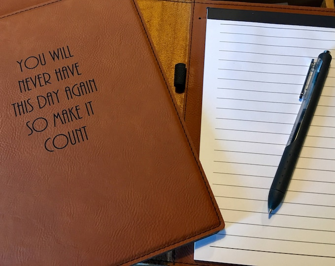 """Engraved 7"""" x 9"""" Rawhide Leatherette Mini Portfolio with Notepad - MAKE IT COUNT"""