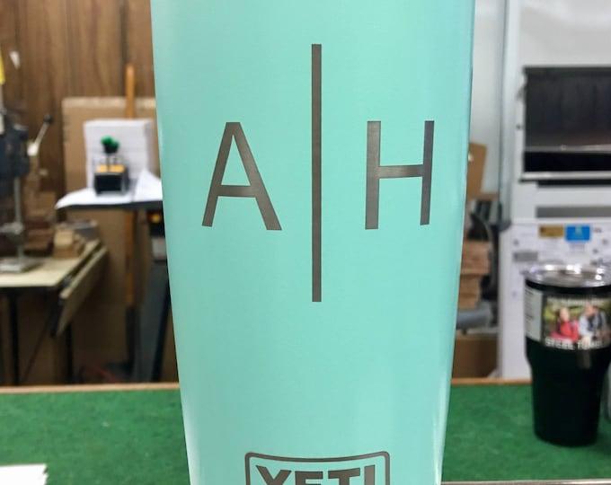 Engraved Personalized Seafoam 20 oz Yeti Rambler - TWO LETTER MONOGRAM