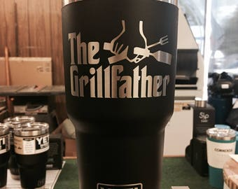 Engraved Black YETI Rambler 30 oz Tumbler - THE GRILLFATHER