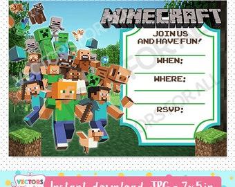 Minecraft Invitation Instant Download Etsy