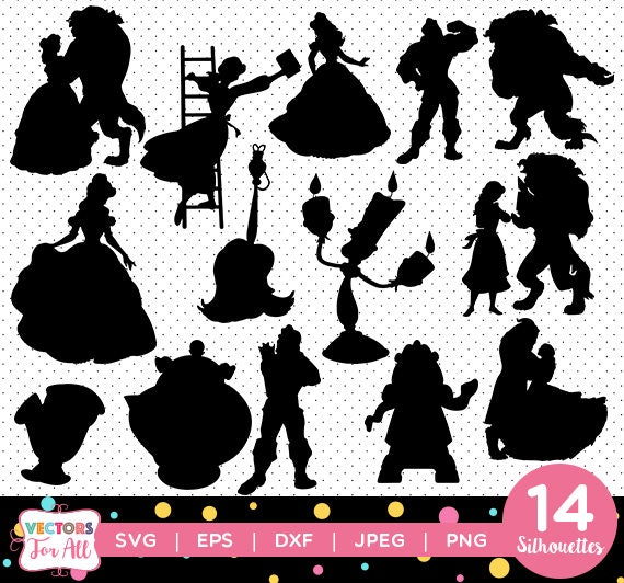 beauty and the beast silhouettes pack princess belle etsy