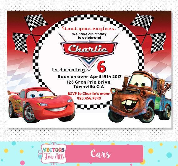 Disney Cars Invitation Disney Cars Party Disney Cars Invite Etsy