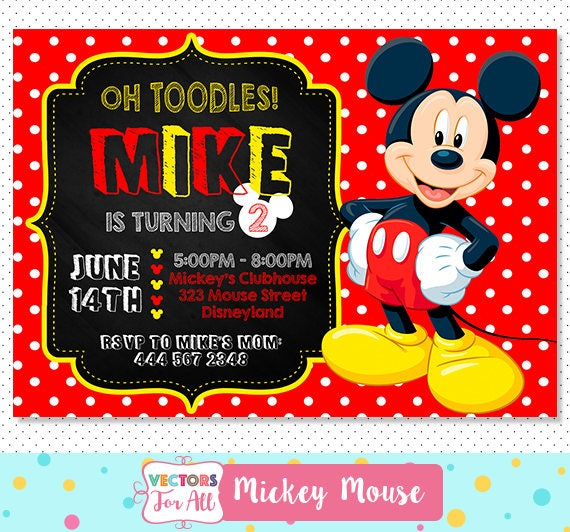 Extreem Disney Mickey Mouse uitnodiging Oh Toodles Mickey Mouse | Etsy #AB77