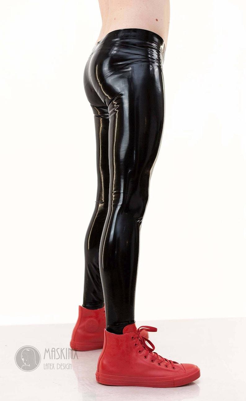 Latex Rubber Leggings Male Men Black Goth Fetish