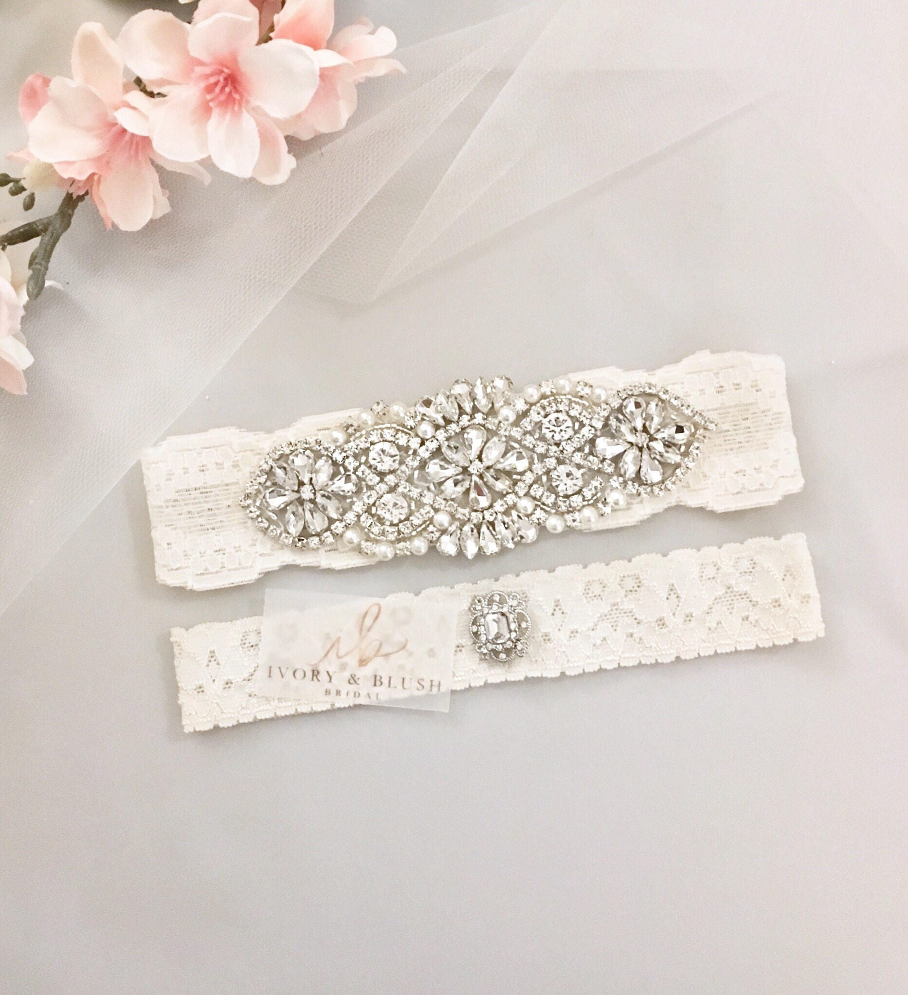 Personalized Wedding Garter Sets: Wedding Garter ANTIQUE IVORY Wedding Garter Set Bridal