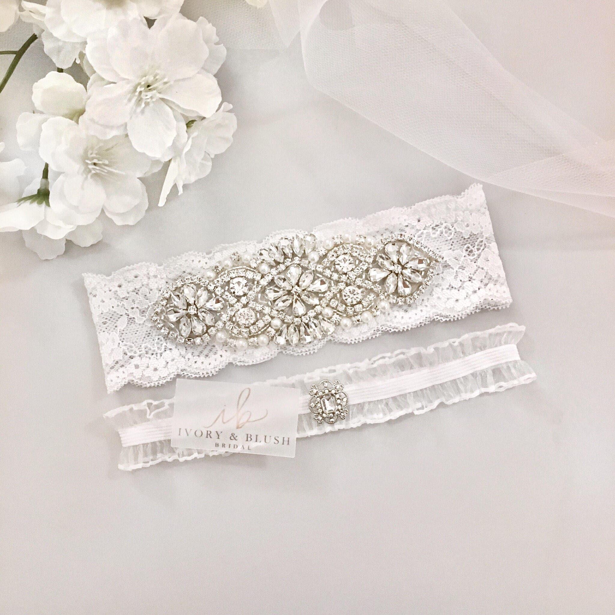 White Wedding Garter: Wedding Garter WHITE Wedding Garter Set Bridal Garter