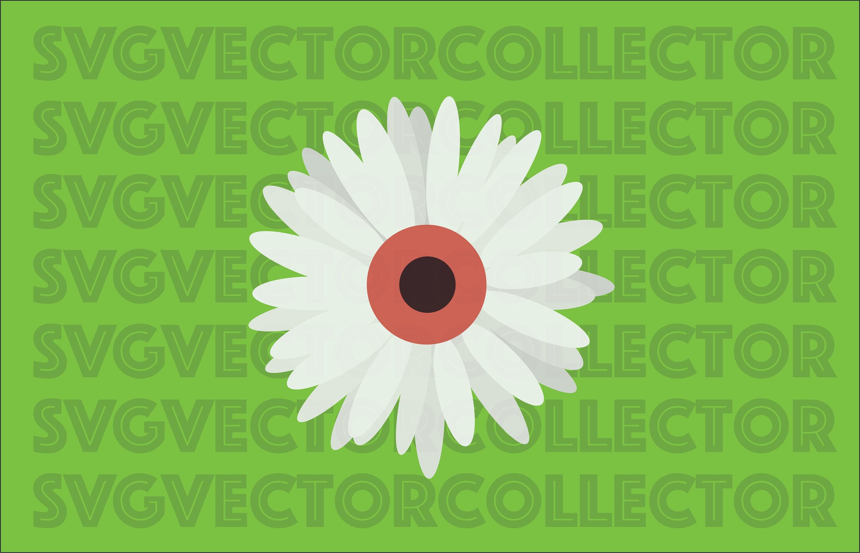 White Gerbera Daisy Flower Svg Dxf Eps Png Clip Art Instant Etsy