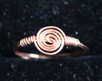 Copper Swirl Ring Size 6