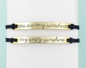 You are my Sunshine bar bracelet set *or* CUSTOM bracelet boho bracelet | mom and me bracelet set | mom bracelet set | Mothers day gift