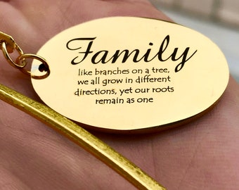 """Gold Tone Bookmark with Custom Engraved, """"Family like branches on a tree"""" Charm  J281"""