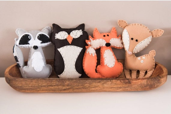 Stuffed Woodland Animals-Fox-Raccoon-Owl-Deer  Felt-Hand