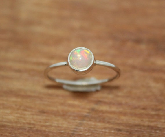 925 Sterling Silver Natural Welo Fire Ethiopian Opal Oval Cab Ring Size US 3-13