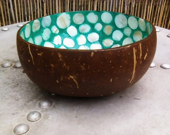 Gorgeous coconut shell bowl with mother of pearl inlay, unique handmade bowl
