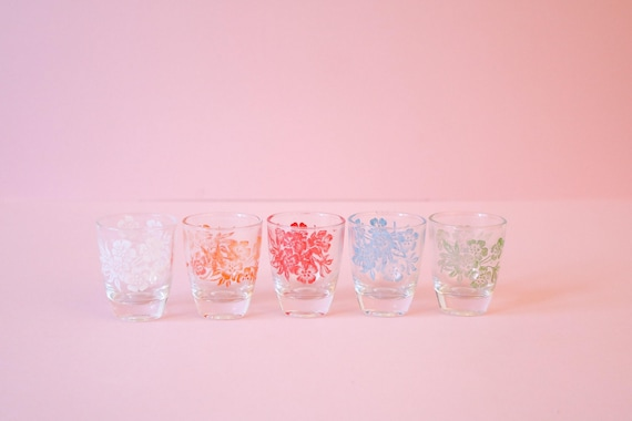 5 Retro Colourful Floral Shot Glasses | Retro Bar | Vintage Barware by Etsy